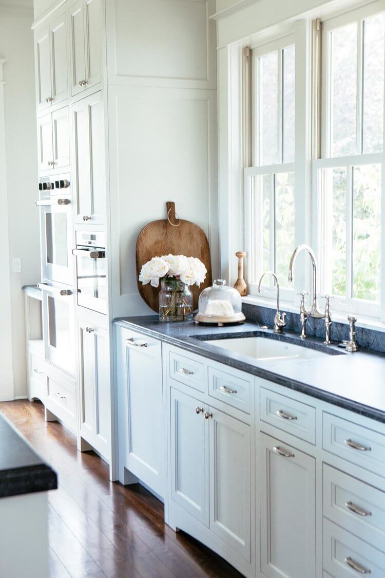 Soapstone Countertops with white cabinetry